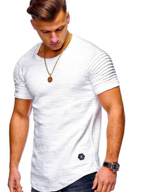 Stylish Summer Solid Color Comfortable Short Sleeve T-shirt for Men - WHITE L