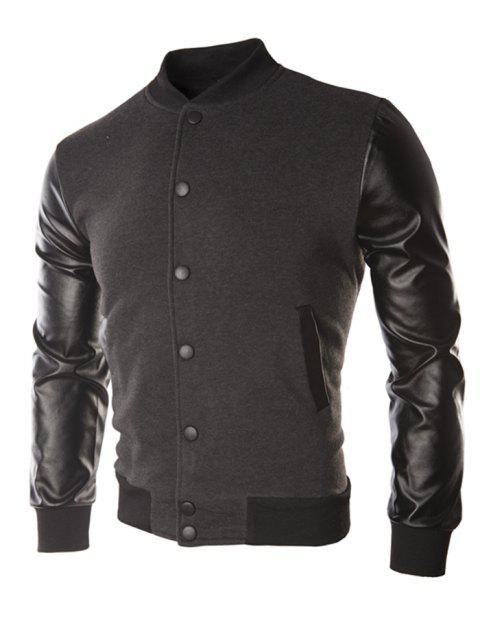 Casual Leather Sleeve Button Coat for Men - DARK GRAY M