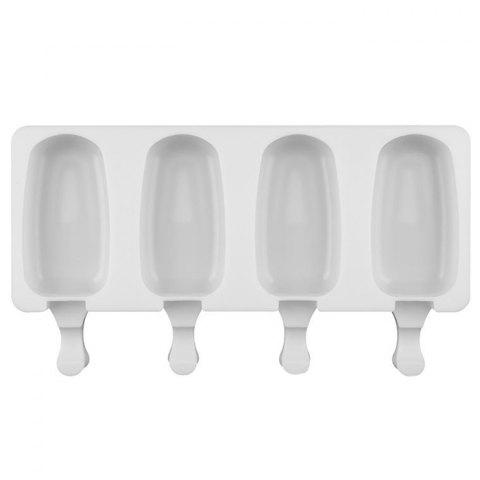 4 Cavity Silicone Popsicle Molds for DIY Cooking - WHITE