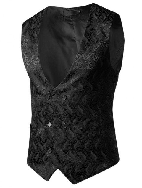 Flame and Flower Waistcoat for Men - BLACK L