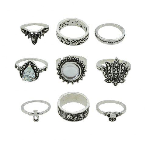 Artificial Gemstone Fashion Ring Set - SILVER ONE-SIZE
