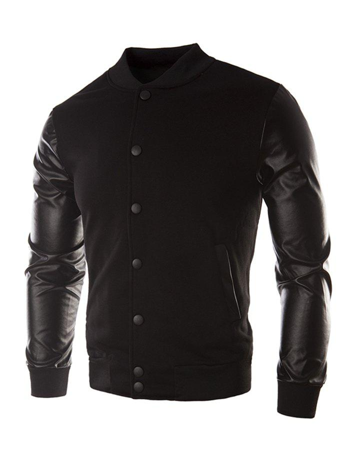 Casual Leather Sleeve Button Coat for Men - BLACK L