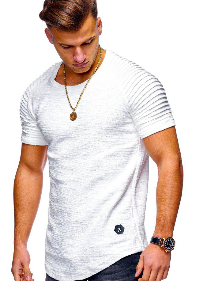 Stylish Summer Solid Color Comfortable Short Sleeve T-shirt for Men - WHITE M