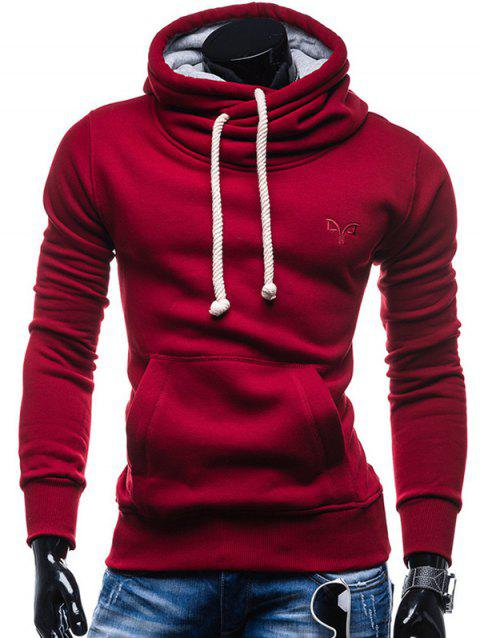 Trendy Solid Color Long Sleeve Cotton Hoodie for Men - CHILLI PEPPER 2XL