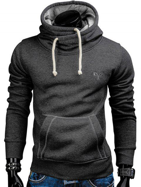 Trendy Solid Color Long Sleeve Cotton Hoodie for Men - SMOKEY GRAY 2XL