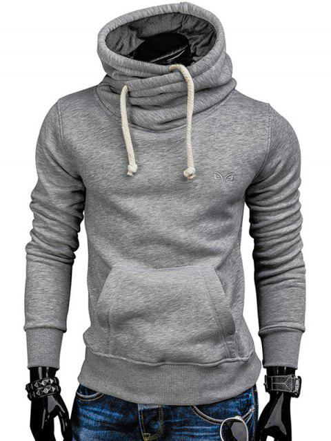 Trendy Solid Color Long Sleeve Cotton Hoodie for Men - GRAY CLOUD 2XL