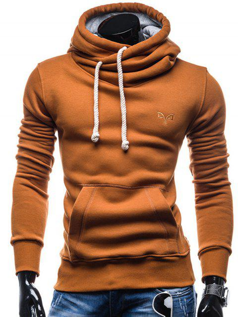 Trendy Solid Color Long Sleeve Cotton Hoodie for Men - LIGHT BROWN 2XL