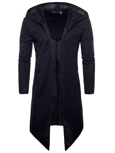 Fashion Long Sleeve Hooded Cardigan Knit Sweater Trench Coat for Men - BLACK L