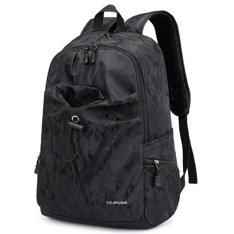 USB Port Oxford Fabric Practical Backpack - BLACK