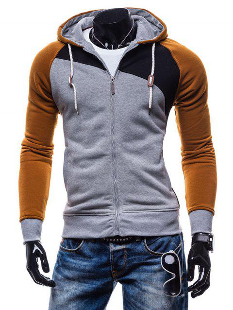 Fashion Comfortable Slim Leisure Zipper Hoodie for Men - LIGHT GRAY 2XL