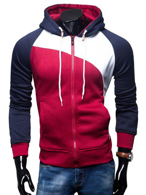 Fashion Comfortable Slim Leisure Zipper Hoodie for Men - RED WINE 2XL