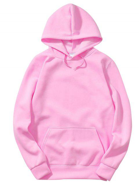 Trendy Comfortable Solid Color Stylish Hoodie for Men - PIG PINK XL