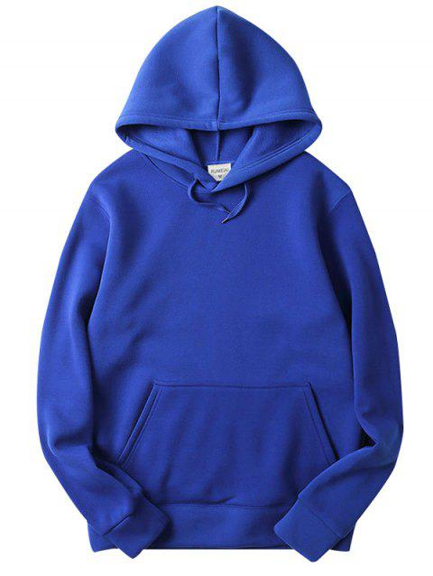 Trendy Comfortable Solid Color Stylish Hoodie for Men - BLUEBERRY BLUE 2XL