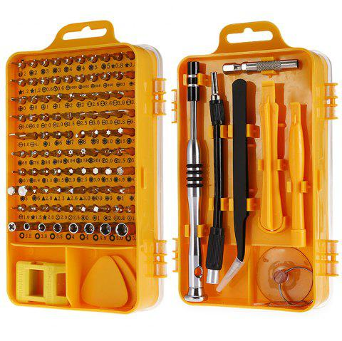 110-in-1 Precision Screwdriver Tool Set for Mobile Phone / Clock - YELLOW