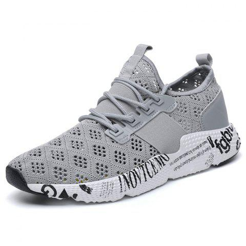 Mode masculine maille Wearable Lace Up Casual Sports Sneakers - Nuage Gris 42