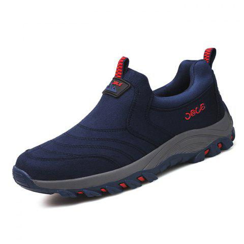 Suede PU Sneakers for Men - DENIM DARK BLUE 41
