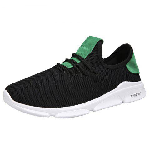 Men Lace Up Mesh Net Fabric Casual Athletic Sports Shoes Sneakers - GREEN 44