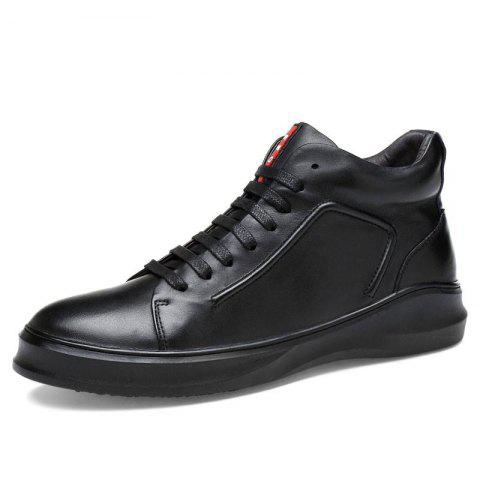 Male Genuine Leather Casual Anti-slip Warm Shoes Boots - BLACK 44