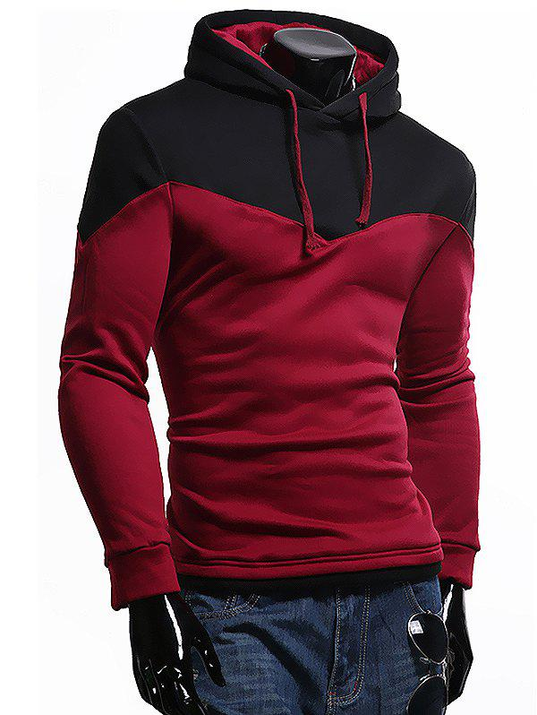 Trendy Comfortable Cotton Solid Warm Hoodie for Men - RED WINE 2XL
