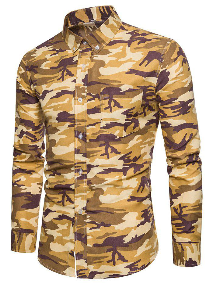 Fashion Casual Camouflage Printing Long Sleeve Shirt for Men