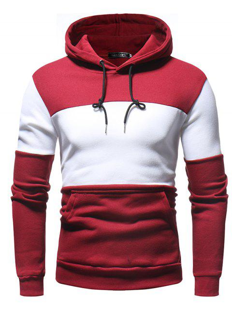 Fashion Splicing Long Sleeve Hoodie for Men - CHILLI PEPPER 3XL