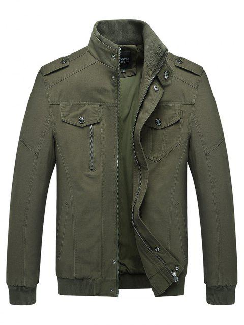 Fashion Draping Zipper Button Warm Jacket for Men - ARMY GREEN 5XL