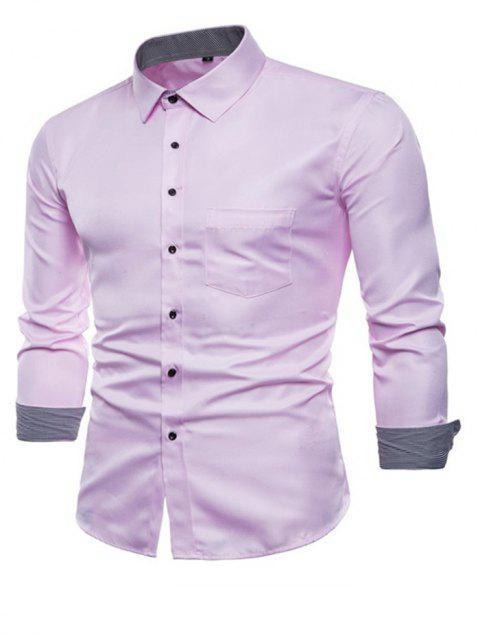 Long Sleeve Causal Business Fit Suits Shirts for Men - PINK XL