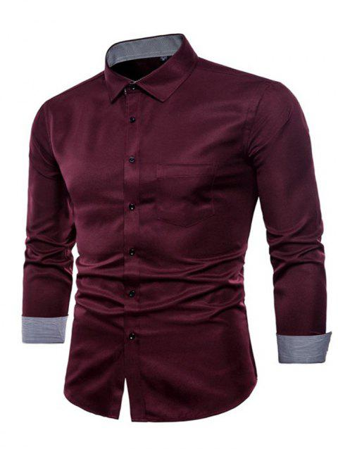 Long Sleeve Causal Business Fit Suits Shirts for Men - RED WINE 5XL
