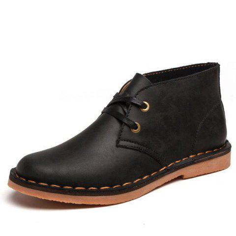 Casual Leather Solid Color Ankle Boots for Man - BLACK 43