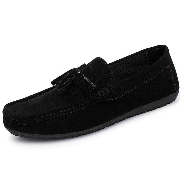 Male Fashion Loafer Flat Wearable Seude Casual Shoes - BLACK 44