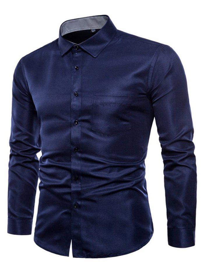 Long Sleeve Causal Business Fit Suits Shirts for Men - CADETBLUE L