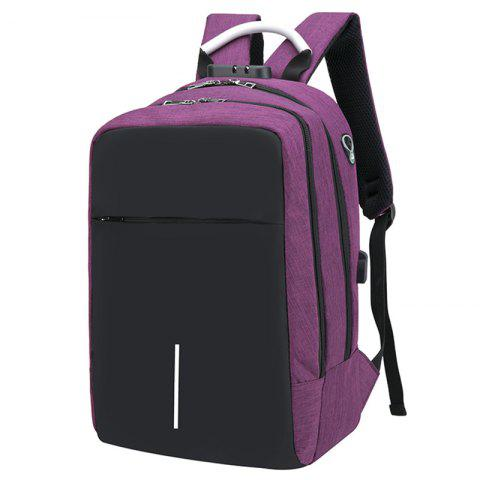 USB Port Design Man Backpack - PALE VIOLET RED