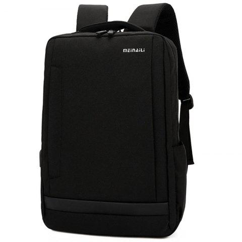 Large Capacity USB Port Unisex Backpack - BLACK