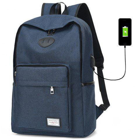 USB Charging Port Design Man Backpack - BLUE JAY