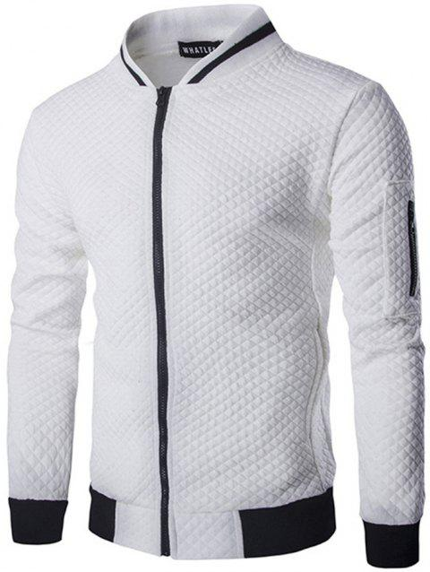 Trendy Men Check Pattern Stand Collar Casual Coat Autumn Winter Hoodie without Hat - WHITE 2XL