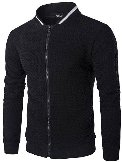 Trendy Men Check Pattern Stand Collar Casual Coat Autumn Winter Hoodie without Hat - BLACK 2XL