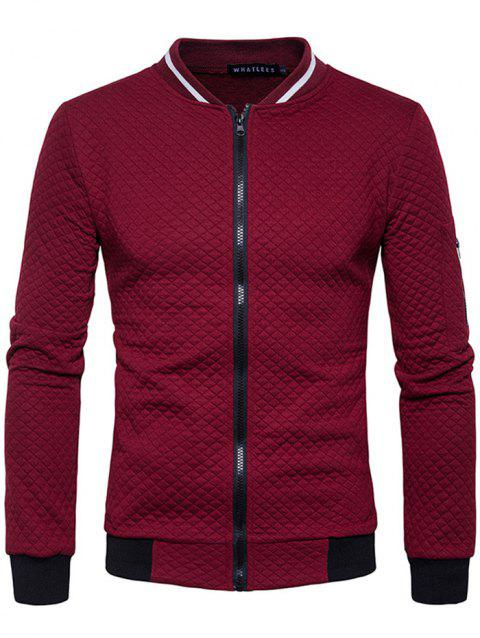Trendy Men Check Pattern Stand Collar Casual Coat Autumn Winter Hoodie without Hat - RED WINE 2XL