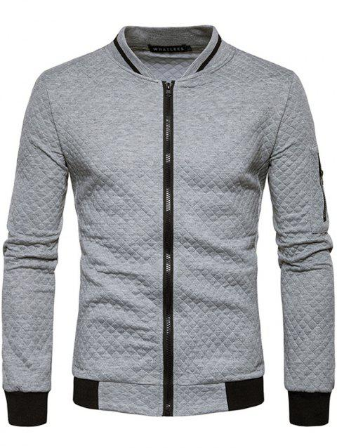Trendy Men Check Pattern Stand Collar Casual Coat Autumn Winter Hoodie without Hat - GRAY CLOUD 2XL