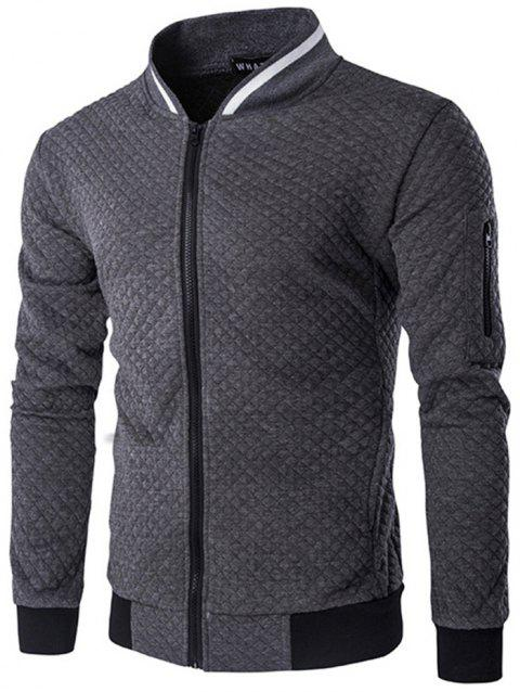 Trendy Men Check Pattern Stand Collar Casual Coat Autumn Winter Hoodie without Hat - CARBON GRAY 2XL