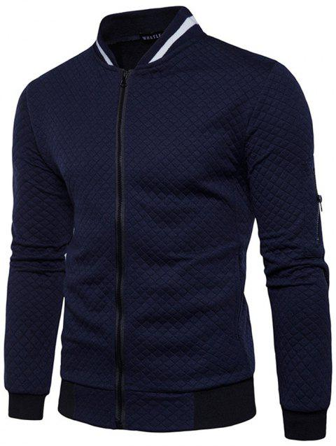 Trendy Men Check Pattern Stand Collar Casual Coat Autumn Winter Hoodie without Hat - MIDNIGHT BLUE 2XL