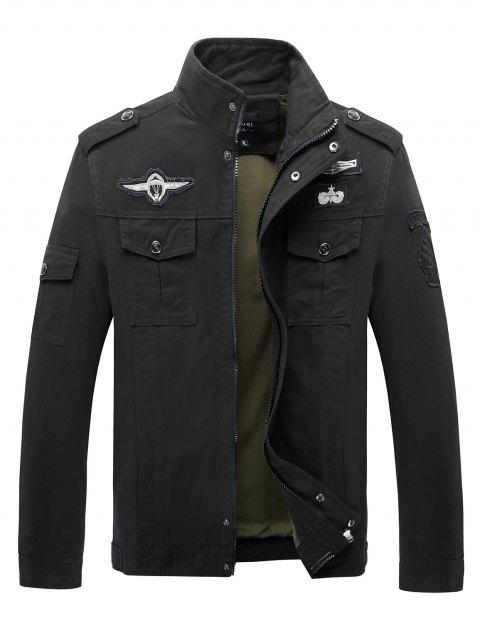 Leisure Stand Collar Zipper Army Uniform Outdoor Sport Coat for Men - BLACK 4XL