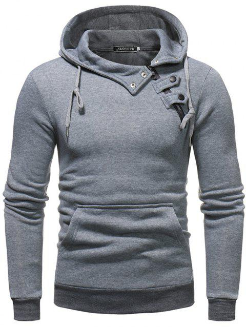 308c153055 2019 Male Fashion Side Button Solid Color Hoodie In LIGHT GRAY 3XL ...