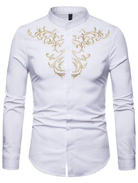 Trendy Embroidery Stand Collar Long Sleeve Shirt for Men - WHITE 2XL