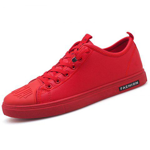 Microfibre Leather Skateboarding Shoes for Men - RED 41