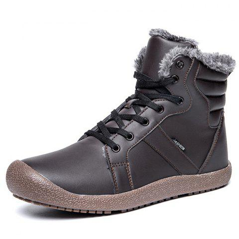 Outdoor Comfortable Warm Leather High-top Snow Boots for Men - GRAY 46