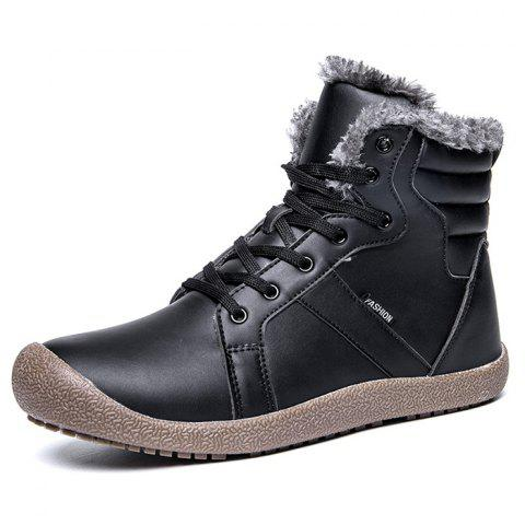 Outdoor Comfortable Warm Leather High-top Snow Boots for Men - BLACK 46