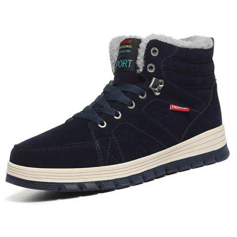 Outdoor Comfortable Casual Leather High-top Snow Boots for Men - DEEP BLUE 45