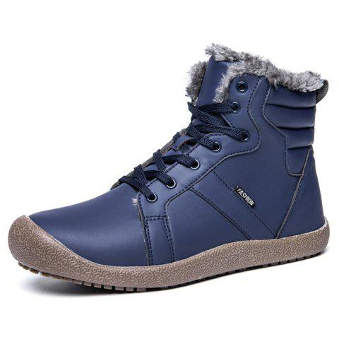Outdoor Comfortable Warm Leather High-top Snow Boots for Men - BLUE 45
