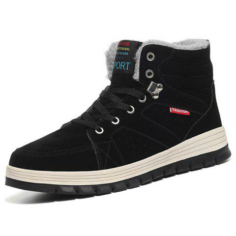 Outdoor Comfortable Casual Leather High-top Snow Boots for Men - BLACK 45