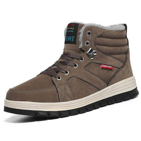 Outdoor Comfortable Casual Leather High-top Snow Boots for Men - DARK KHAKI 39